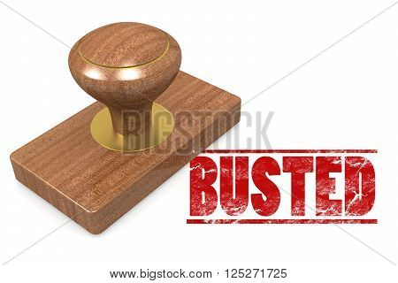 Busted red rubber stamp  image, 3D rendering
