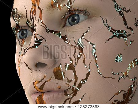 electronic woman or female cyborg on binary background 3D illustration
