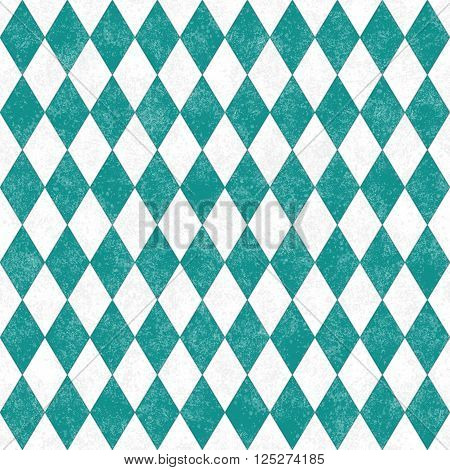 Teal Grunge Diamond Tile Pattern Repeat Background that is seamless and repeats