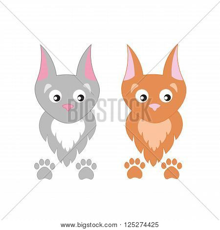 Cute cartoon vector cats. Fluffy kittens and paw prints.