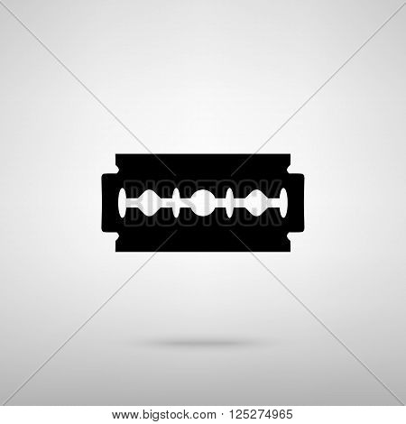 Razor blade sign. Black with shadow on gray.