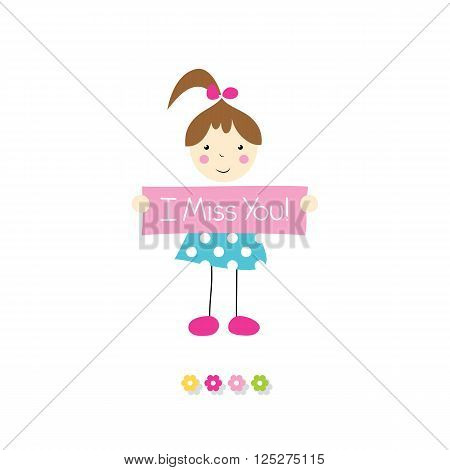 little brown haired girl in blue polka dot dress holding I miss you sign with flowers on white background