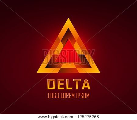 Triangle geometric shape or delta symbol logo. Editable color, use Recolor Artwork in Illustrator. Vector EPS 10 file.