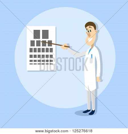 Oculist Ophthalmologist Doctor Point Examination Table Visual Acuity Hospital Vector Illustration