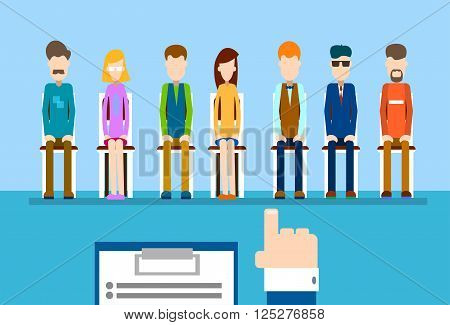 Recruitment Hold Resume Hand Point Finger Business Person Candidate People Group Vector Illustration