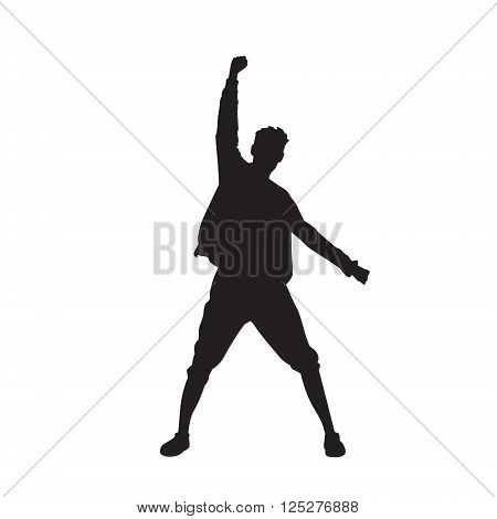 Traveler Icon Posing Hand Up Logo Hiker Trekker Vector Illustration