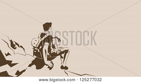 Traveler Sit On Cliff Rest Hiker Trekker Look To Empty Copy Space Vector Illustration