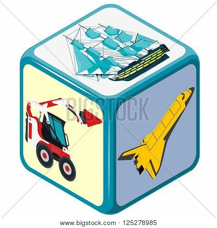 Playing isometric dice with means of transport. How to travel? Accidental choice. Transportation game. Cube on white. Die with space shuttle, excavator and boat. Flatten isolated vector illustration
