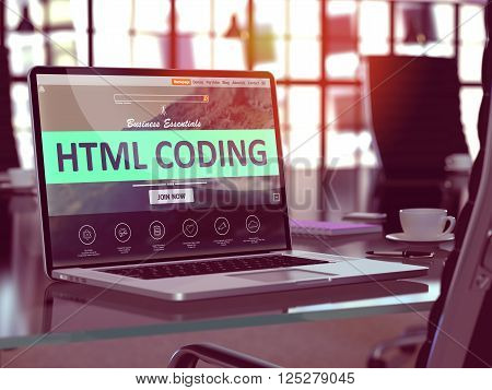 Html Coding Concept Closeup on Laptop Screen in Modern Office Workplace. Toned Image with Selective Focus. 3D Render.