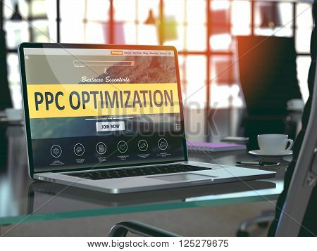 Modern Workplace with Laptop showing Landing Page with PPC - Pay Per Click -  Optimization Concept. Toned Image with Selective Focus. 3D Render.