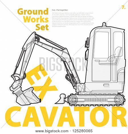 Excavator - yellow and orange typography set of ground works machines vehicles on white. Construction equipment for building. Master vector illustration. Truck, Digger, Crane, Forklift, Roller