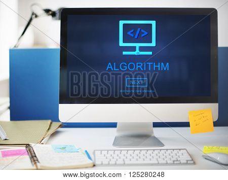Algorithm Data Coding Process Diagram Concept