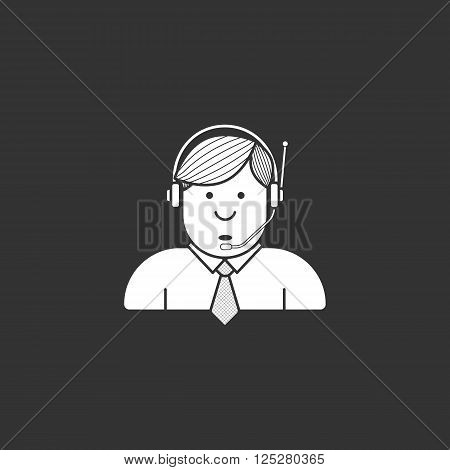 Administrator icon in a shirt and tie in the headphones with microphone