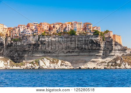 Colorful Living Houses On Rocky Coast, Bonifacio