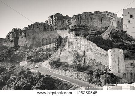 Citadel Of Bonifacio, Corsica. Monochrome