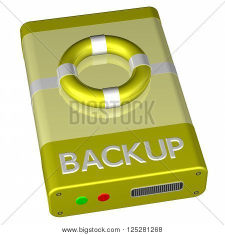 Concept - Backup, isolated on white background. 3D rendering.
