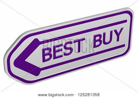 Best buy arrow isolated on white background. 3D rendering.