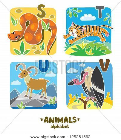 Children vector illustration of funny urial, vulture, snake and tiger.  Animals zoo alphabet or ABC.