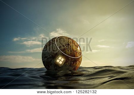 3d illustration of a space capsule floating on the sea