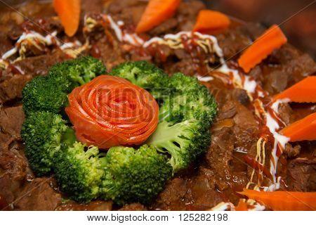 A Irish Beef Stew with Carrots closeup