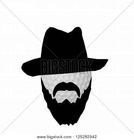 3d illustration of a golf ball with black beard and gangster hat isolated on white background