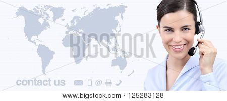 Customer service operator woman with headset smiling world map on background contact us concept