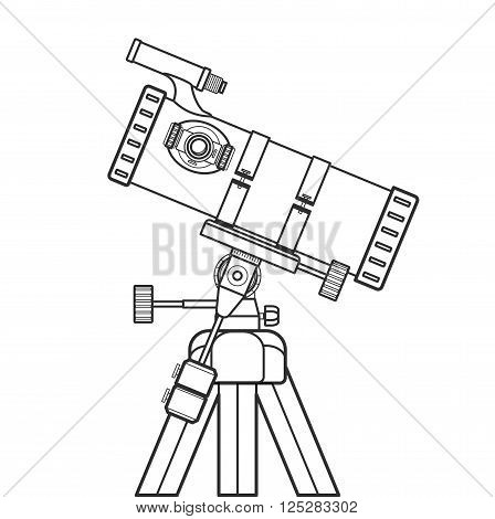 Vector Outline Reflecting Telescope Illustration.