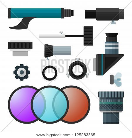 Vector Colorful Telescope Accessories Collection.