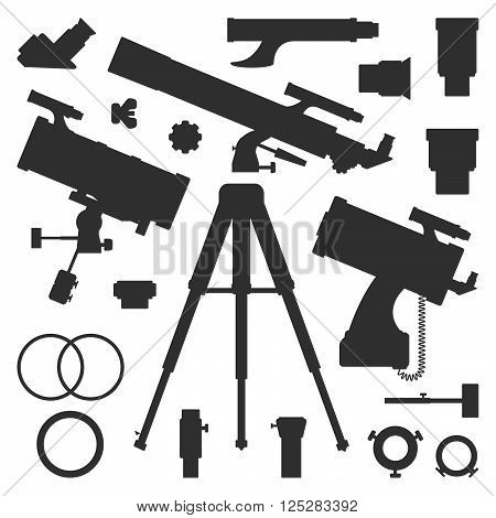 Vector Astronomy Telescope Silhouette Collection.