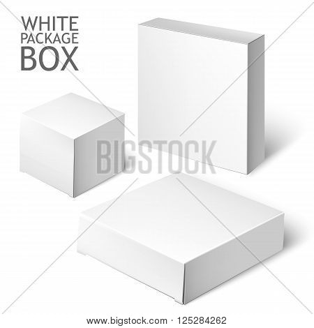 Cardboard Package Box. Set Of White Package Square For Software, DVD, Electronic Device And Other Products. Mock Up Template Ready For Your Design.  Illustration Isolated On White Background.