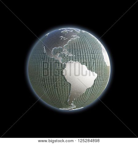 3d illustration of the planet earth with extruded continents isolated on black background