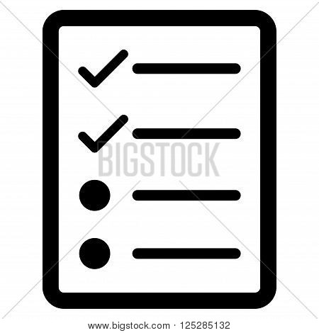 Checklist Page vector icon. Checklist Page icon symbol. Checklist Page icon image. Checklist Page icon picture. Checklist Page pictogram. Flat black checklist page icon.