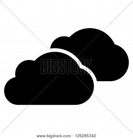 Clouds vector icon. Clouds icon symbol. Clouds icon image. Clouds icon picture. Clouds pictogram. Flat black clouds icon. Isolated clouds icon graphic. Clouds icon illustration.