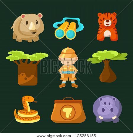 Male Jungle Explorer Collection Of Flat Vector Cartoon Style Isolated Cute Girly Drawings On Black Background