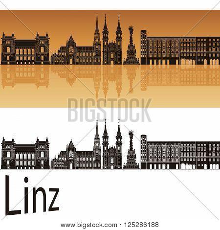 Linz skyline in orange background in editable vector file