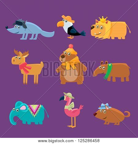 Cute Animals Collection Of Flat Vector Cartoon Style Isolated Cute Girly Drawings On Purple Background