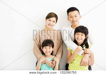 Happy Attractive Young asian Family Portrait isolated