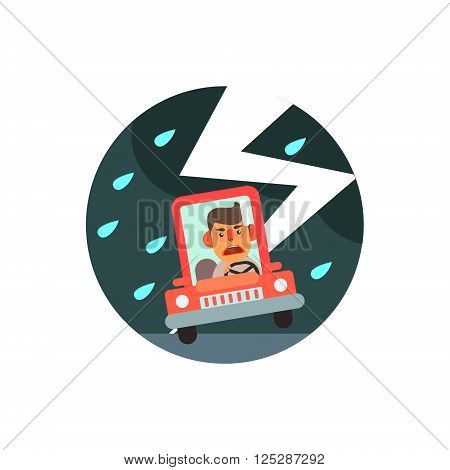 Traffic Code Slippery Road Flat Isolated Vector Image In Simplified Cute Childish Style On White Background