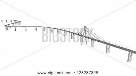 3D bridge and train, City buildings view vector illustration, buildings, , bridges on white  background. 3D arcitecture