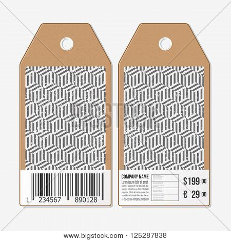 Vector tags design on both sides, cardboard sale labels with barcode. Recurring cubes on background. Geometric pattern. Simple abstract monochrome texture.