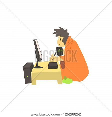 Guy Working Home At Night Cute Cartoon Style Flat Vector Illustration On White Background