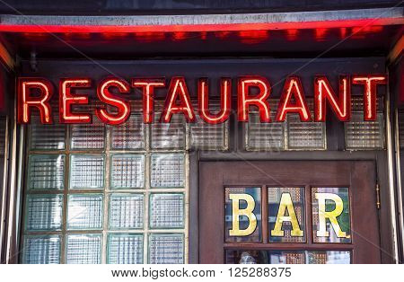 A glowing restaurant bar neon sign image. ** Note: Visible grain at 100%, best at smaller sizes