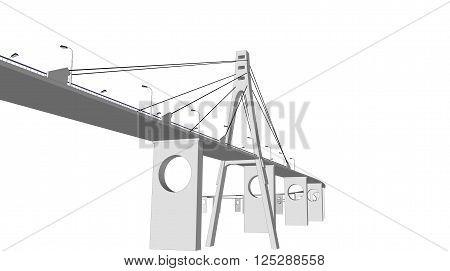 3D bridge and train, City buildings view vector illustration, buildings, , bridges on white  background. 3D arcitecture 9
