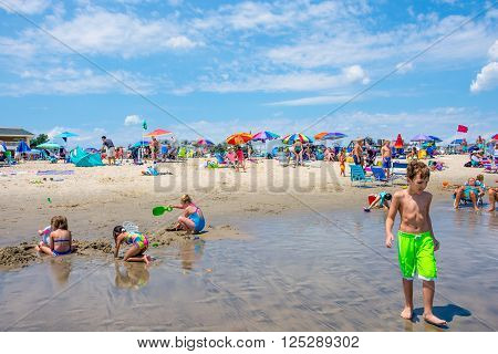 SPRING LAKE NEW JERSEY-AUGUST 1 - Children playing on the beach on a beautiful day August 1 2015 in Spring Lake New Jersey.