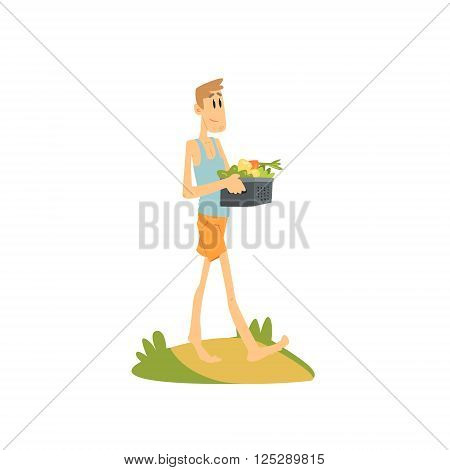 Skinny Farmer Carrying The Vegetables Flat Isolated Vector Image In Simple Childish Style On White Background