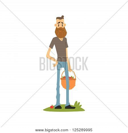 Hipster Skinny Farmer Flat Isolated Vector Image In Simple Childish Style On White Background