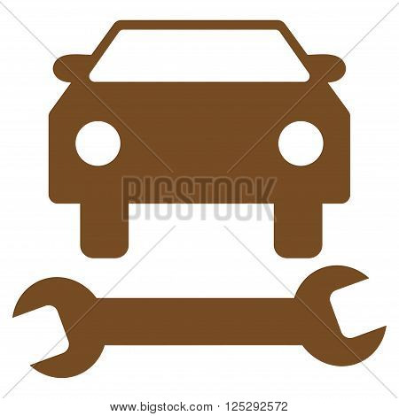 Car Repair vector icon. Car Repair icon symbol. Car Repair icon image. Car Repair icon picture. Car Repair pictogram. Flat brown car repair icon. Isolated car repair icon graphic.