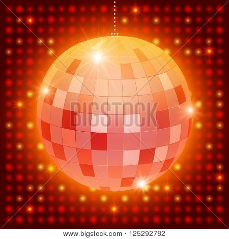 Mirror Disco Ball On Shining Retro Background