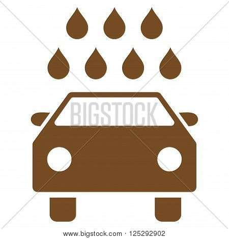 Car Shower vector icon. Car Shower icon symbol. Car Shower icon image. Car Shower icon picture. Car Shower pictogram. Flat brown car shower icon. Isolated car shower icon graphic.