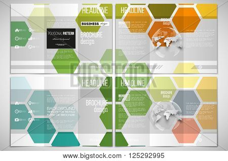 Vector set of tri-fold brochure design template on both sides with world globe element. Abstract colorful business background, modern stylish hexagonal vector texture.